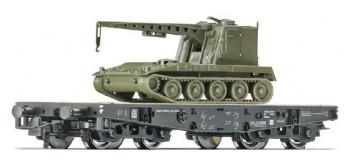 Modélisme ferroviaire : ROCO R67474 - Wagon plat plus véhicule militaire avec grue NS