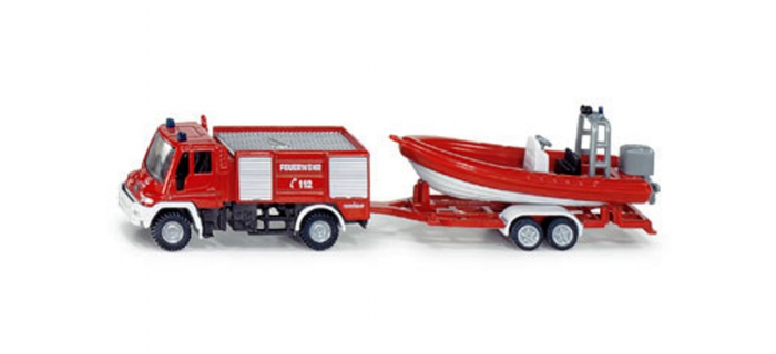 Train électrique : SIKU1636F - Unimog Pompiers + bateau