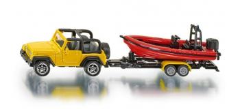 Train électrique : SIKU1658 - Jeep avec bateau