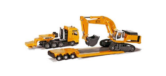 Modélisme ferroviaire : SIKU1847 - ensgin de chantier Camion surbaissé porte engins